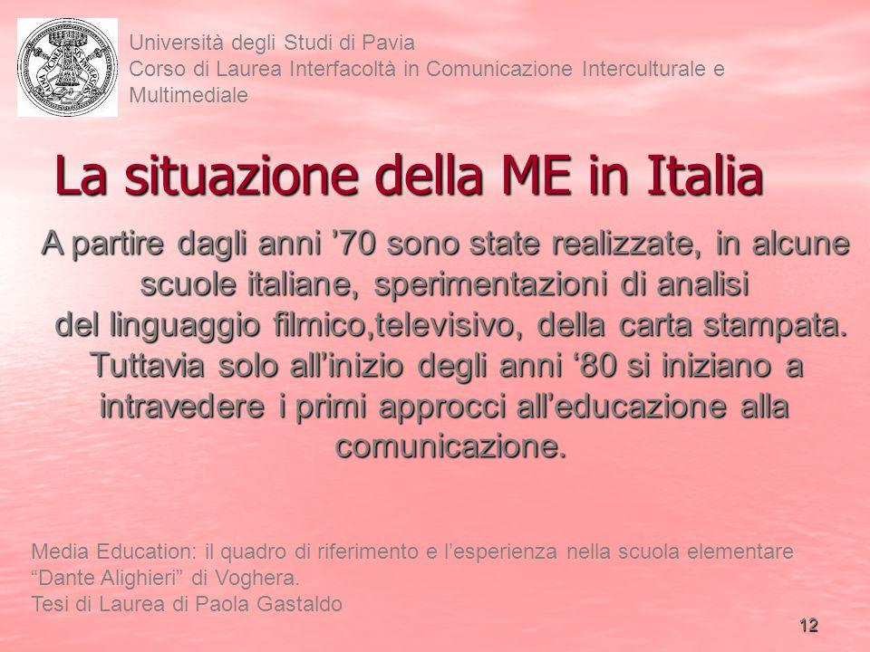La situazione della ME in Italia