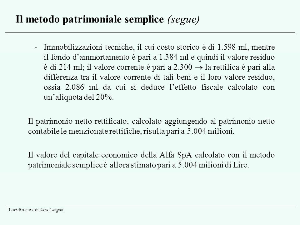 Il metodo patrimoniale semplice (segue)