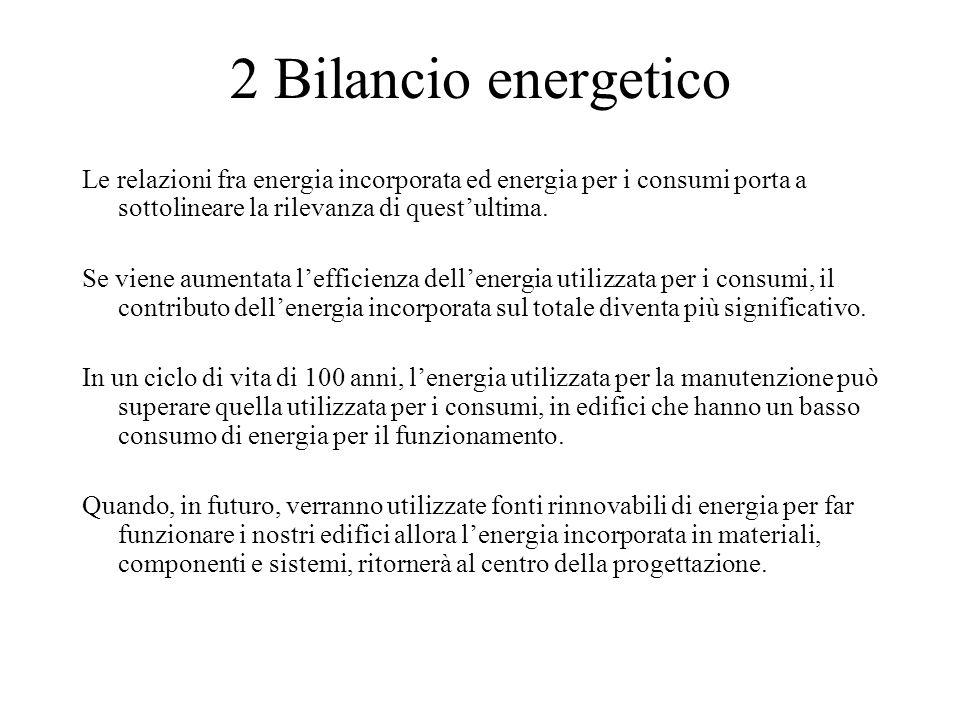 2 Bilancio energetico Le relazioni fra energia incorporata ed energia per i consumi porta a sottolineare la rilevanza di quest'ultima.