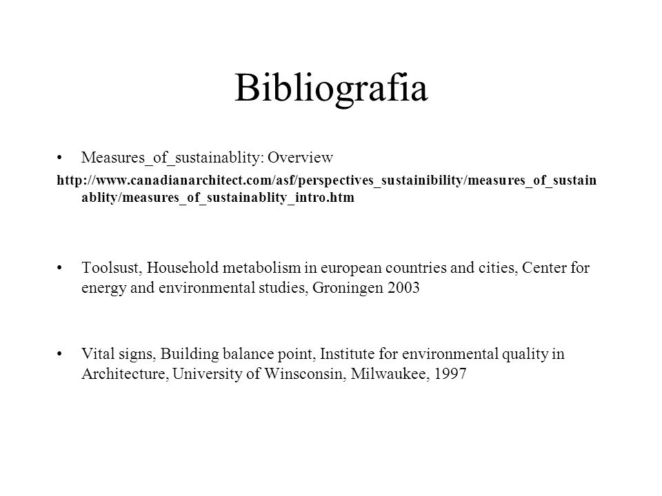Bibliografia Measures_of_sustainablity: Overview