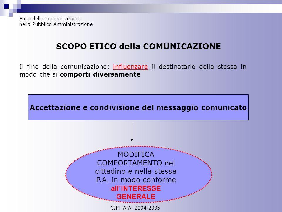 SCOPO ETICO della COMUNICAZIONE