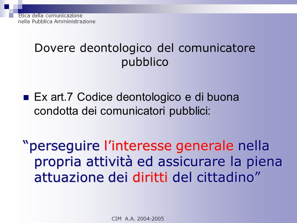 Dovere deontologico del comunicatore pubblico