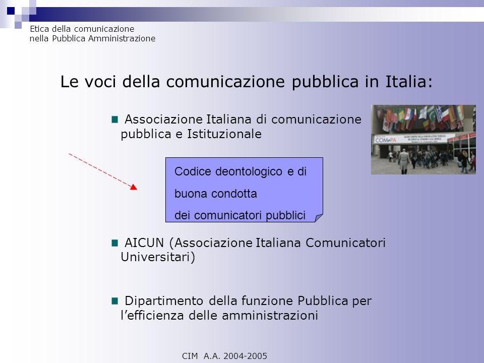 Le voci della comunicazione pubblica in Italia: