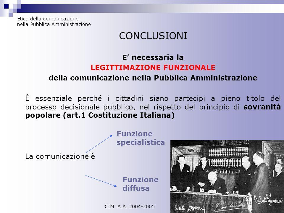 CONCLUSIONI E' necessaria la LEGITTIMAZIONE FUNZIONALE