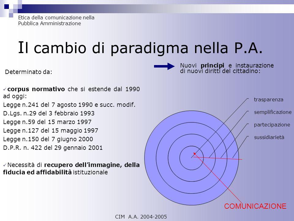 Il cambio di paradigma nella P.A.