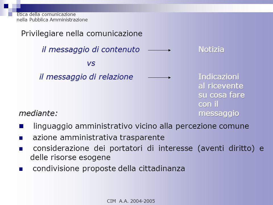 linguaggio amministrativo vicino alla percezione comune