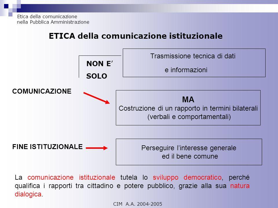 ETICA della comunicazione istituzionale
