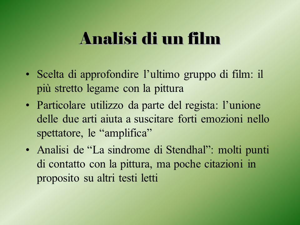Analisi di un film Scelta di approfondire l'ultimo gruppo di film: il più stretto legame con la pittura.