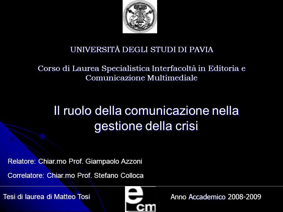 Il ruolo della comunicazione nella gestione della crisi