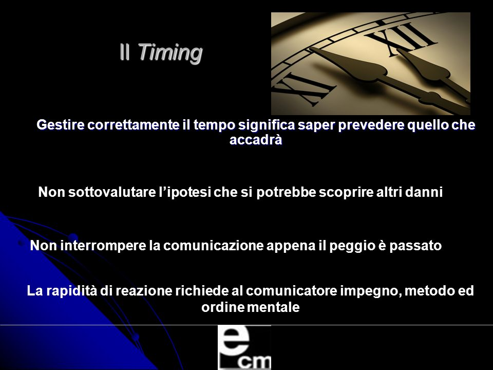 Il Timing Gestire correttamente il tempo significa saper prevedere quello che accadrà.