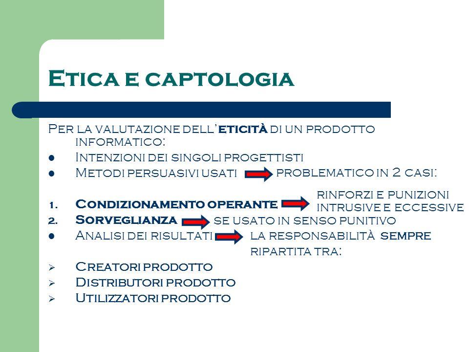 Etica e captologia Per la valutazione dell'eticità di un prodotto informatico: Intenzioni dei singoli progettisti.