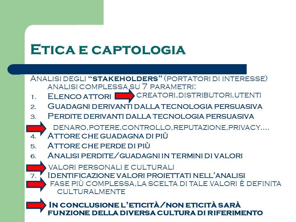 Etica e captologia Analisi degli stakeholders (portatori di interesse) analisi complessa su 7 parametri: