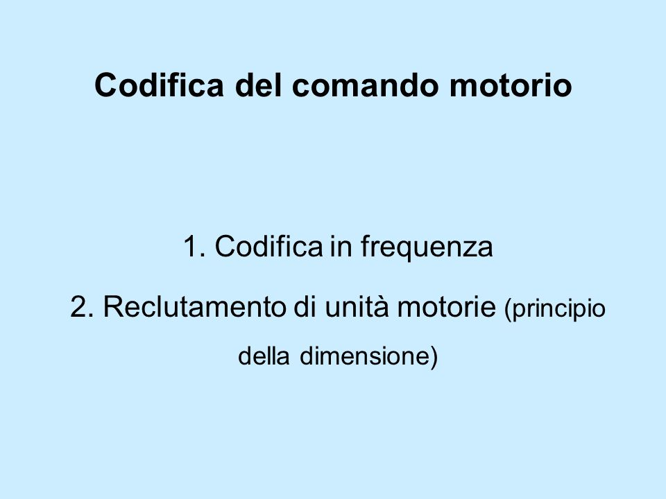 Codifica del comando motorio