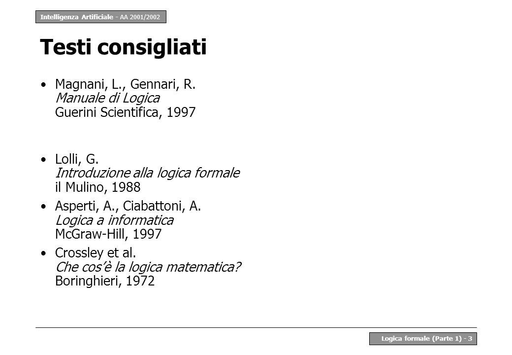 Testi consigliatiMagnani, L., Gennari, R. Manuale di Logica Guerini Scientifica, 1997. Lolli, G. Introduzione alla logica formale il Mulino, 1988.