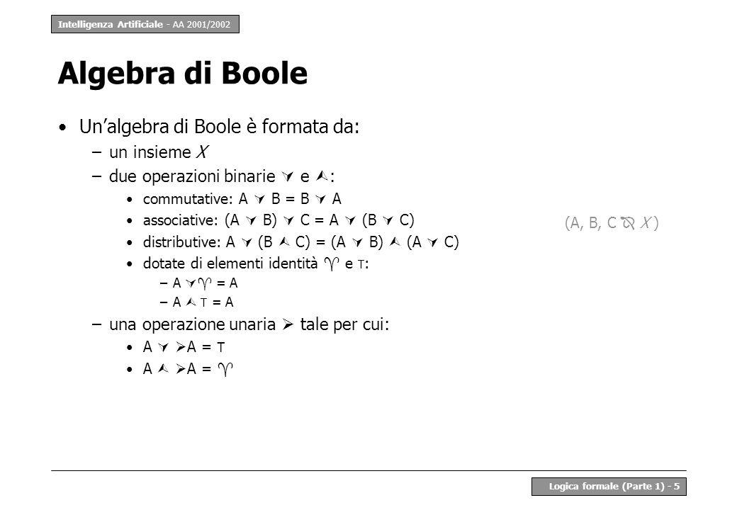 Algebra di Boole Un'algebra di Boole è formata da: un insieme X