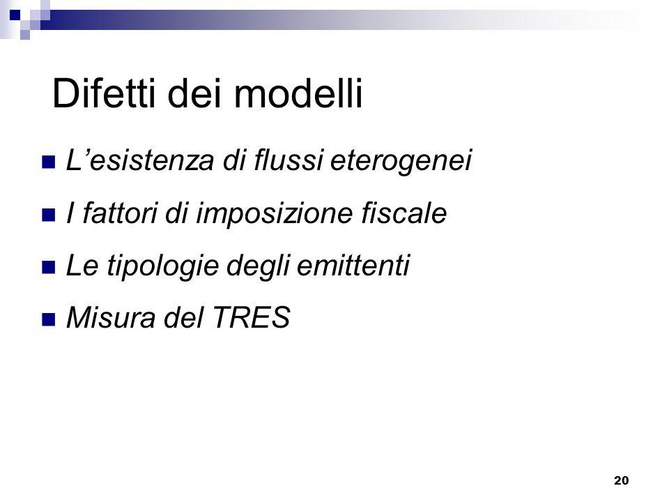Difetti dei modelli L'esistenza di flussi eterogenei
