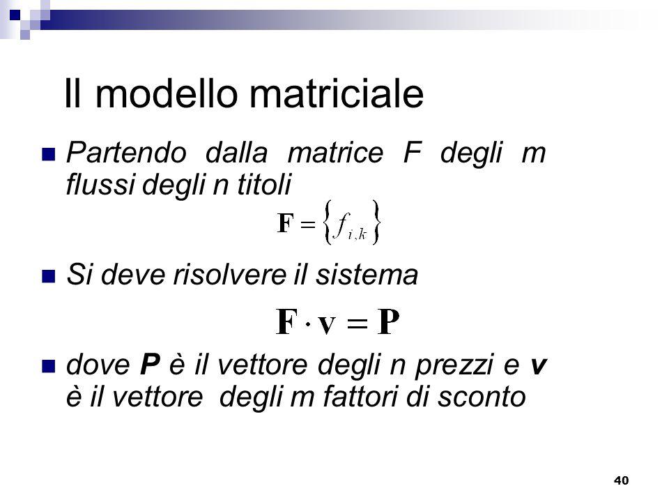 Il modello matriciale Partendo dalla matrice F degli m flussi degli n titoli. Si deve risolvere il sistema.