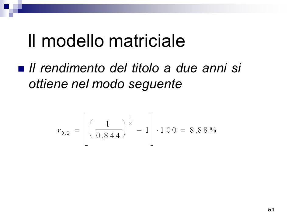 Il modello matriciale Il rendimento del titolo a due anni si ottiene nel modo seguente