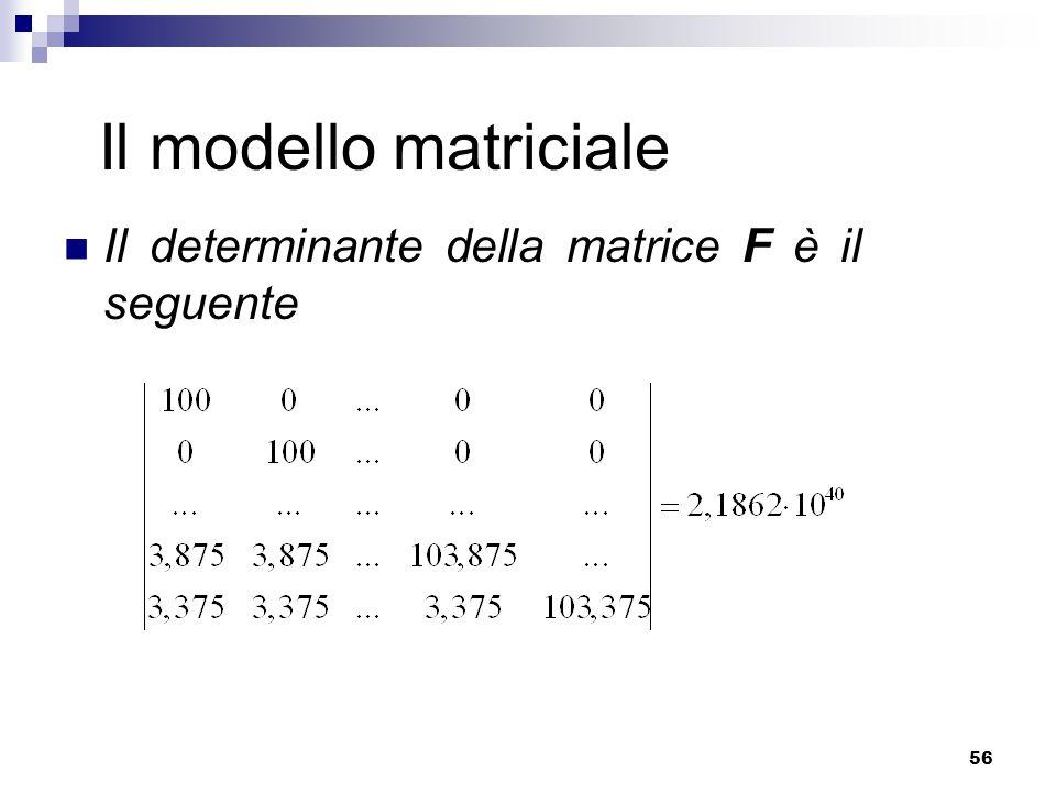 Il modello matriciale Il determinante della matrice F è il seguente
