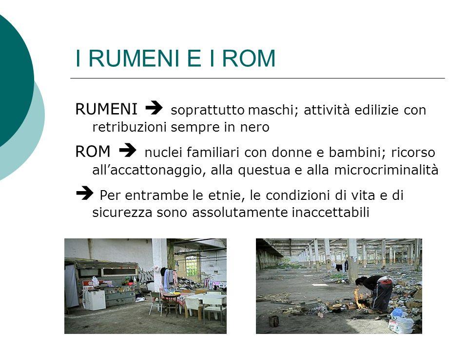 I RUMENI E I ROM RUMENI  soprattutto maschi; attività edilizie con retribuzioni sempre in nero.