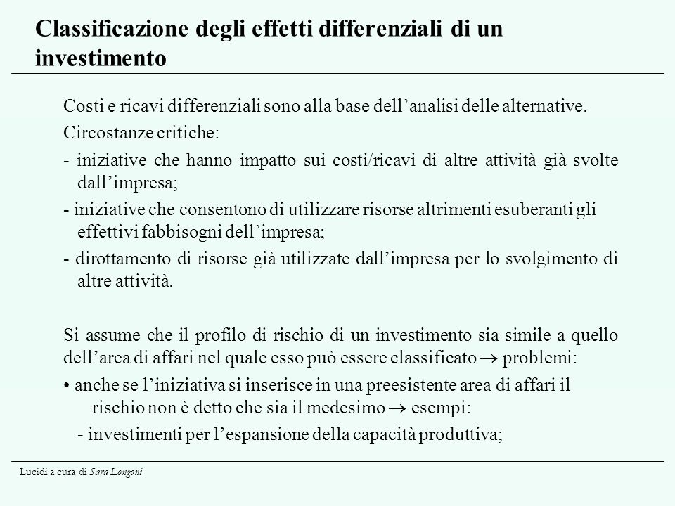 Classificazione degli effetti differenziali di un investimento