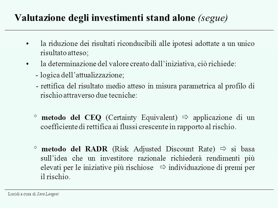 Valutazione degli investimenti stand alone (segue)