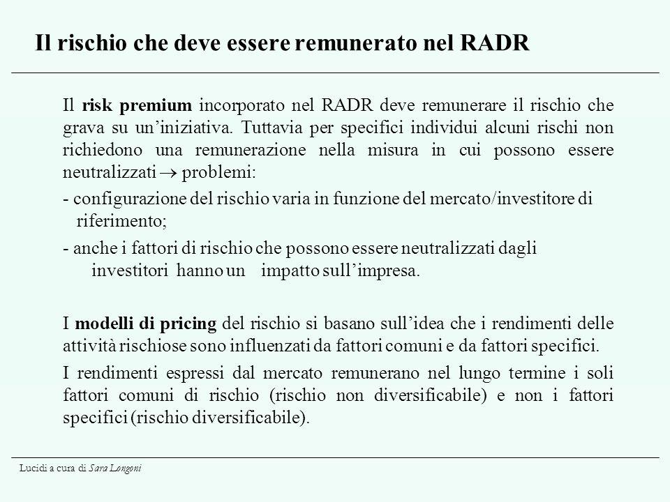 Il rischio che deve essere remunerato nel RADR