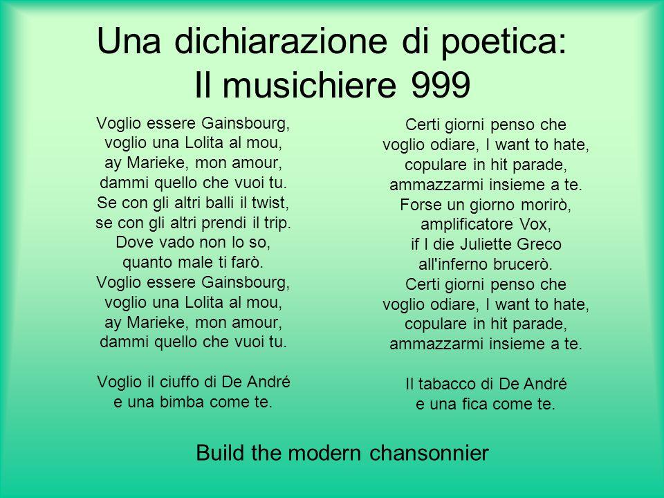Una dichiarazione di poetica: Il musichiere 999