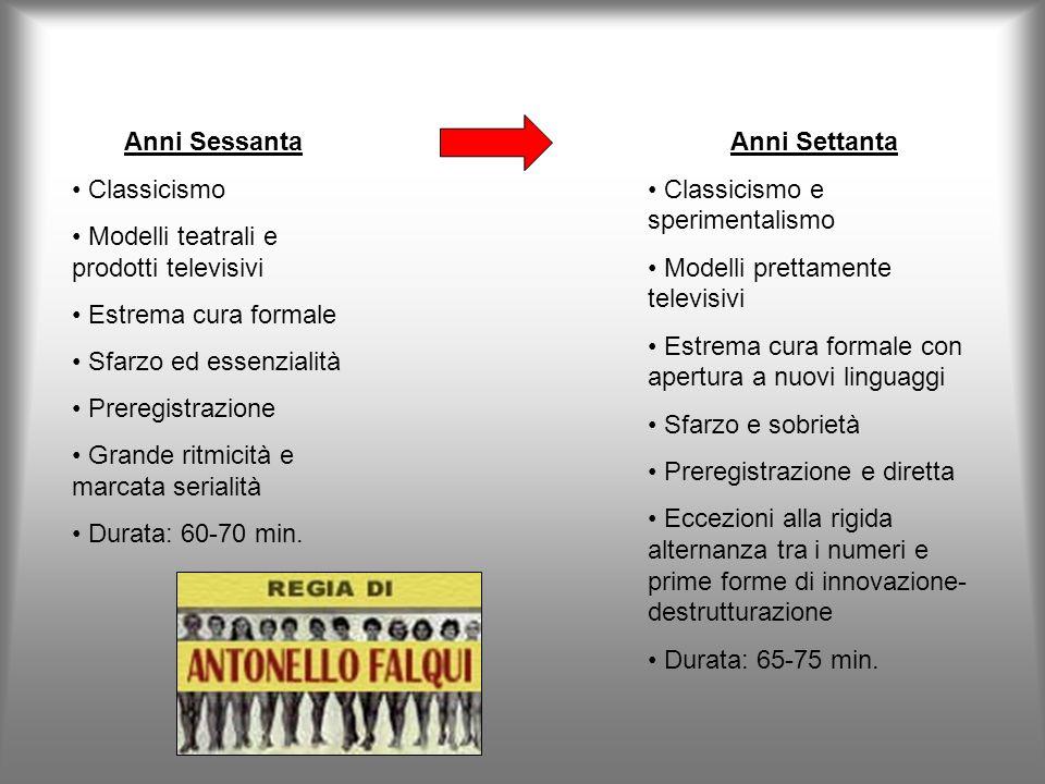 Anni Sessanta Classicismo. Modelli teatrali e prodotti televisivi. Estrema cura formale. Sfarzo ed essenzialità.