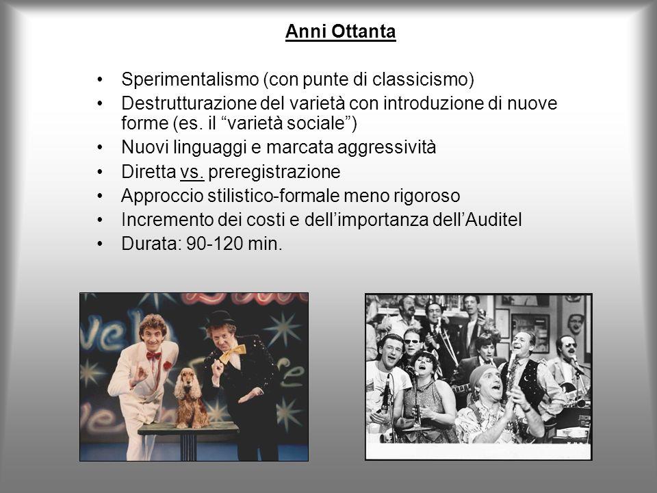Anni Ottanta Sperimentalismo (con punte di classicismo) Destrutturazione del varietà con introduzione di nuove forme (es. il varietà sociale )
