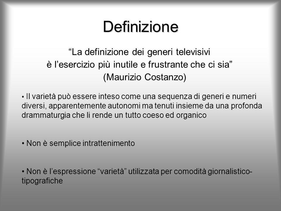 Definizione La definizione dei generi televisivi