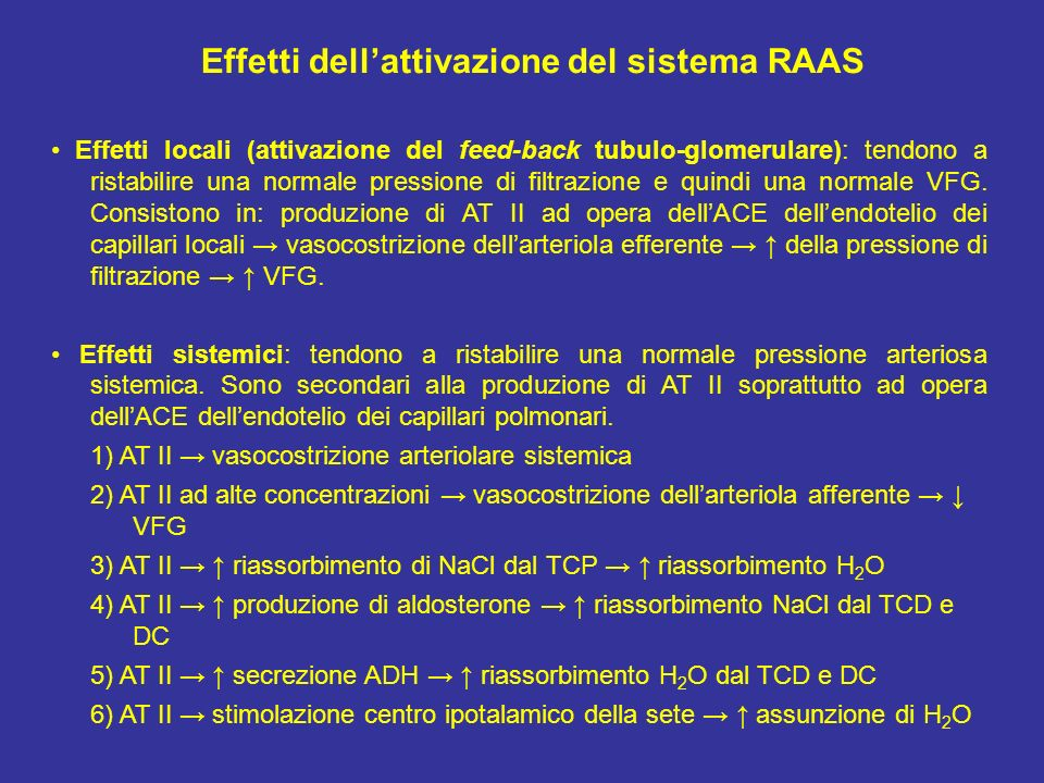 Effetti dell'attivazione del sistema RAAS