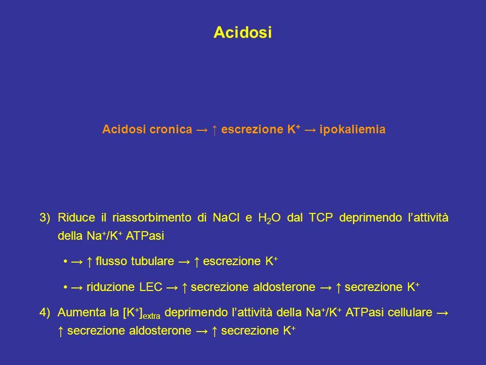 Acidosi cronica → ↑ escrezione K+ → ipokaliemia