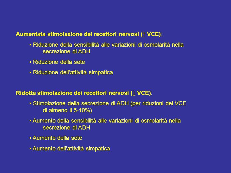 Aumentata stimolazione dei recettori nervosi (↑ VCE):