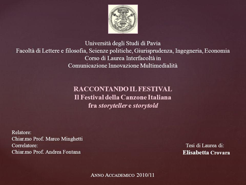 RACCONTANDO IL FESTIVAL Il Festival della Canzone Italiana