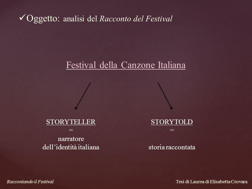 Oggetto: analisi del Racconto del Festival