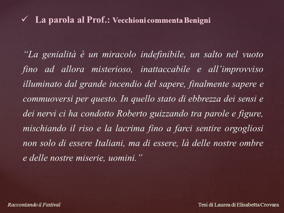 La parola al Prof.: Vecchioni commenta Benigni