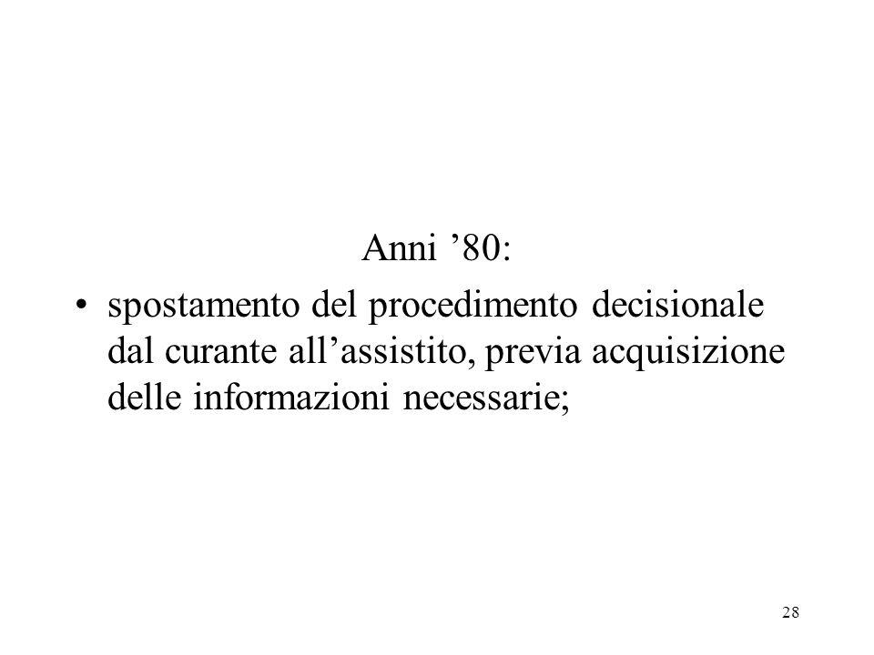 Anni '80:spostamento del procedimento decisionale dal curante all'assistito, previa acquisizione delle informazioni necessarie;