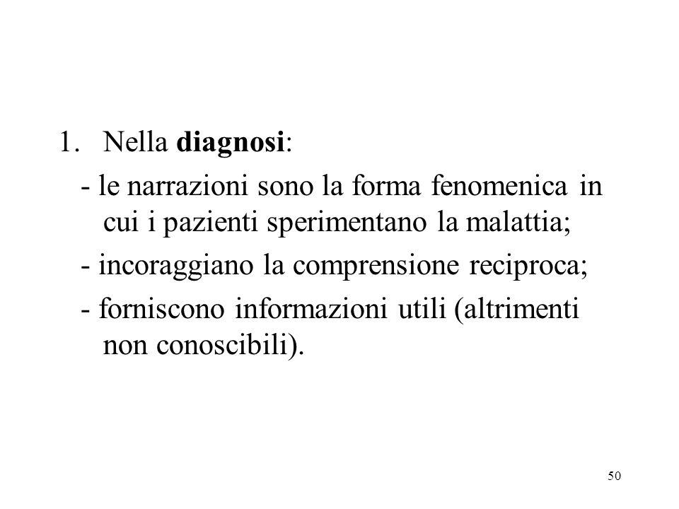 Nella diagnosi:- le narrazioni sono la forma fenomenica in cui i pazienti sperimentano la malattia;