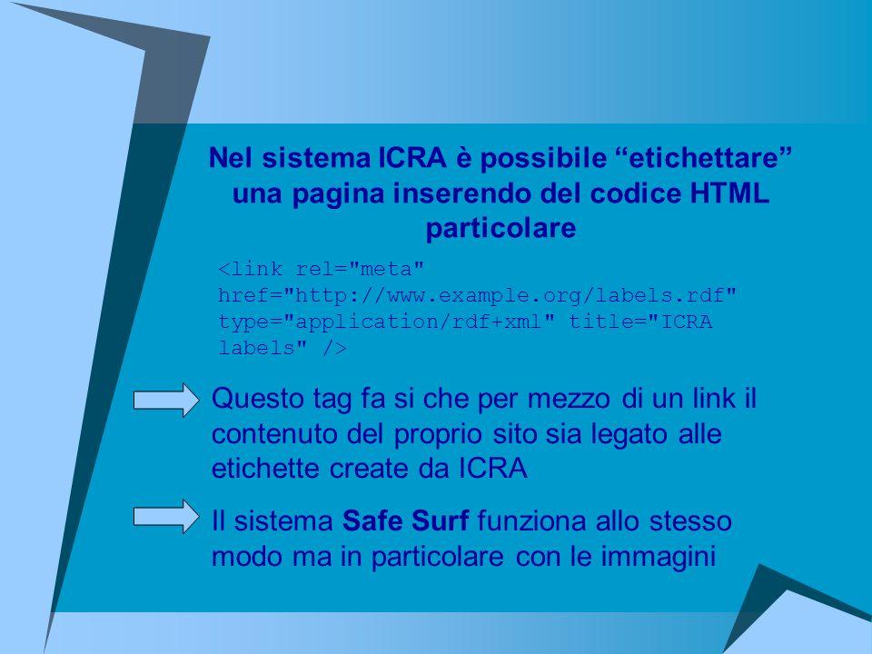 Nel sistema ICRA è possibile etichettare una pagina inserendo del codice HTML particolare