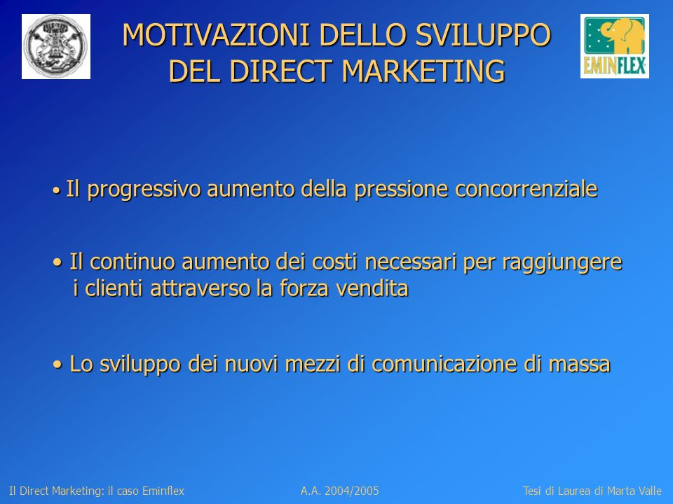 MOTIVAZIONI DELLO SVILUPPO DEL DIRECT MARKETING