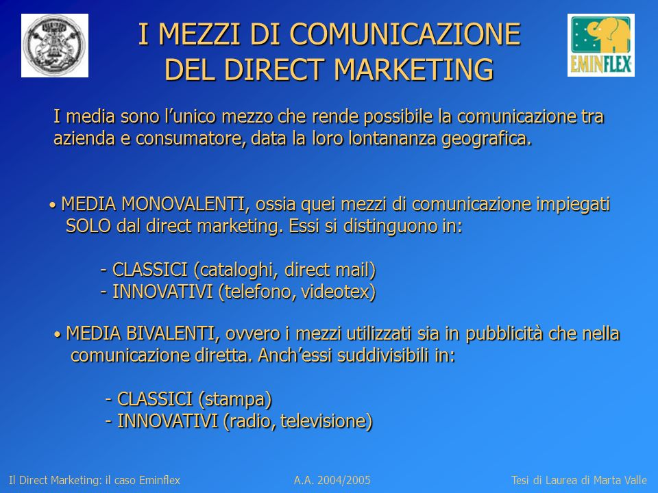 I MEZZI DI COMUNICAZIONE DEL DIRECT MARKETING
