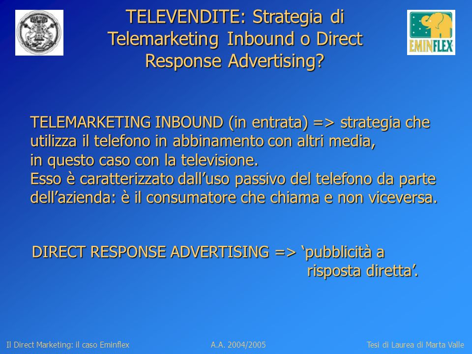 TELEVENDITE: Strategia di Telemarketing Inbound o Direct Response Advertising