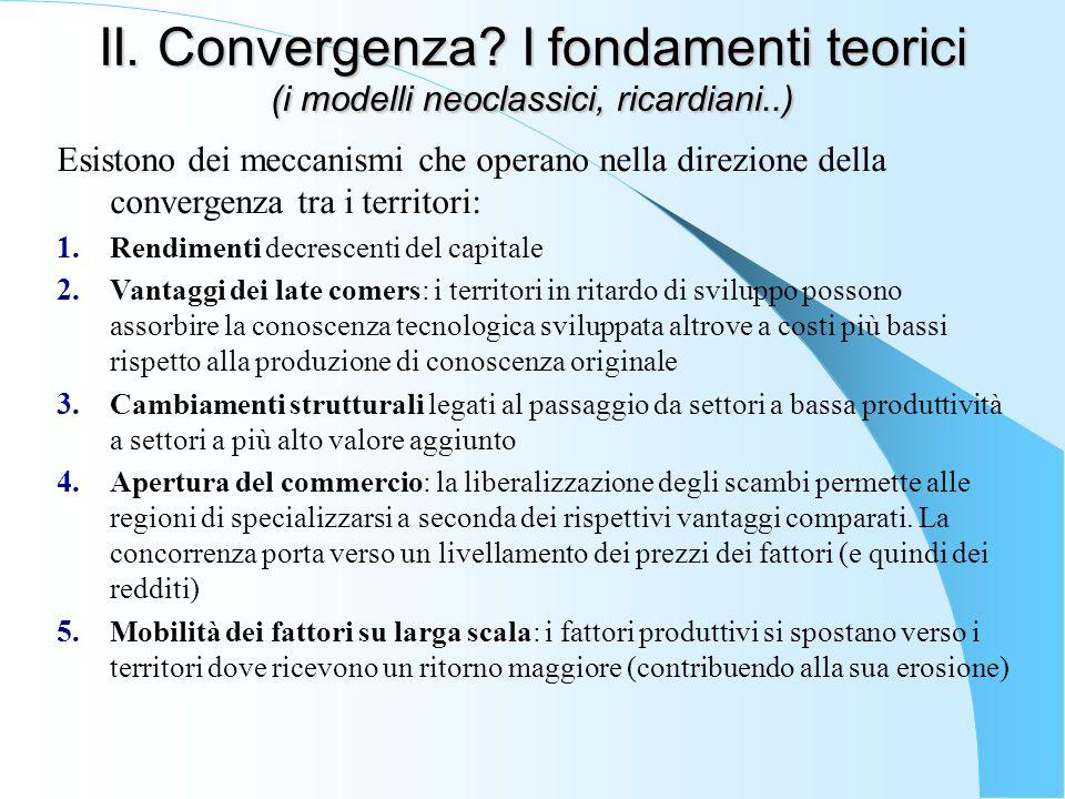 II. Convergenza I fondamenti teorici (i modelli neoclassici, ricardiani..)