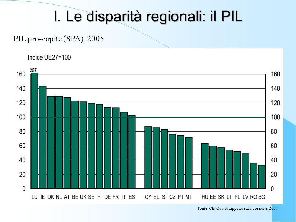 I. Le disparità regionali: il PIL