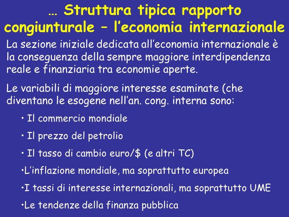 … Struttura tipica rapporto congiunturale – l'economia internazionale