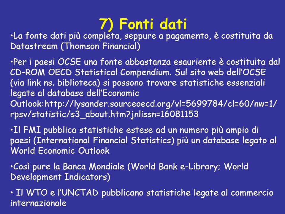 7) Fonti dati La fonte dati più completa, seppure a pagamento, è costituita da Datastream (Thomson Financial)