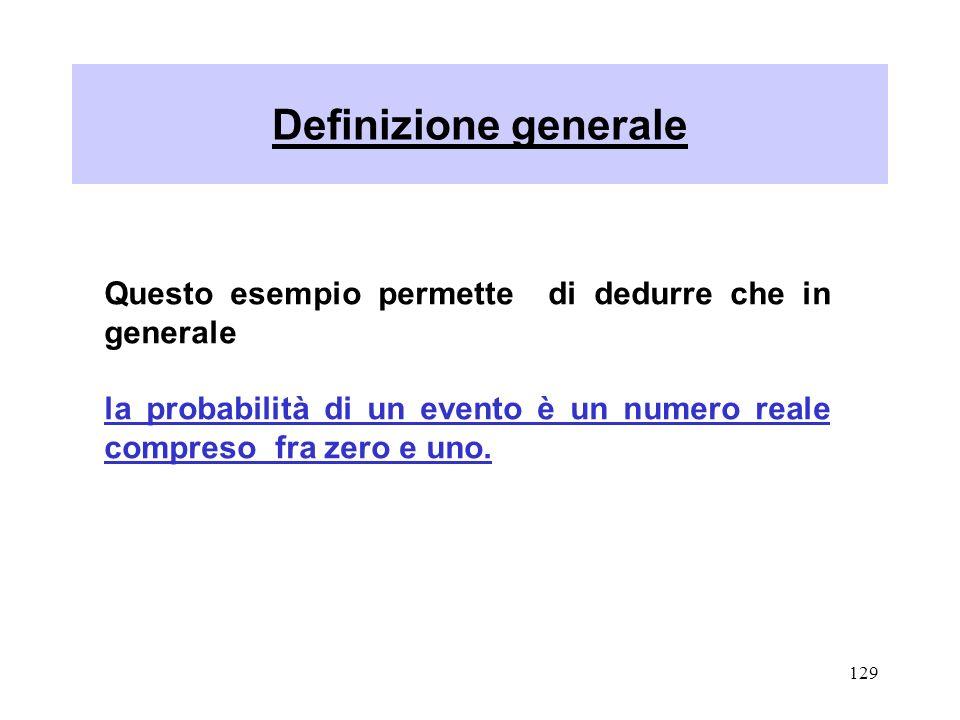 Definizione generale Questo esempio permette di dedurre che in generale.
