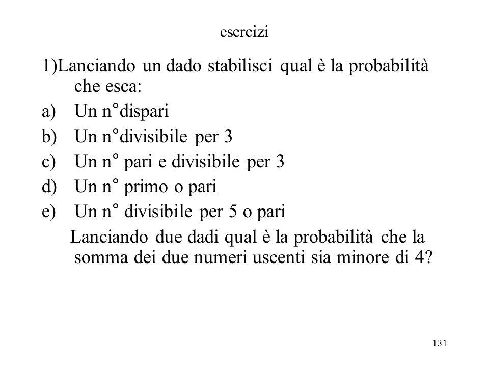 1)Lanciando un dado stabilisci qual è la probabilità che esca: