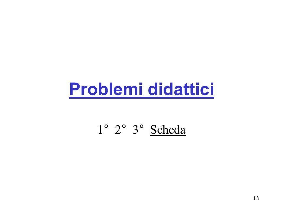 Problemi didattici 1° 2° 3° Scheda